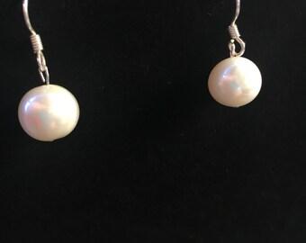 Potato pearl hook drop earrings