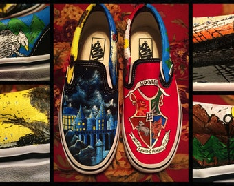 Custom painted Harry Potter Vans! Designed and personalized just for you!