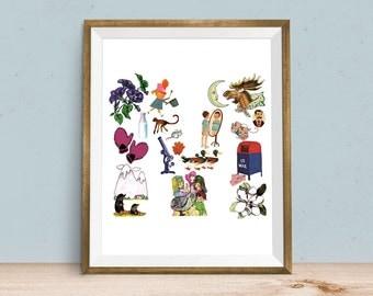 Ordinaire Letter M, Alphabet Art Print, ABC Nursery Art, Baby Boy, Baby Girl