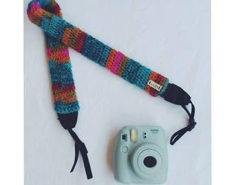 Hand crochet camera strap