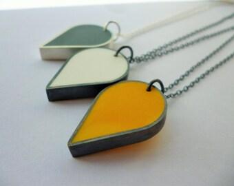 Teardrop silver and resin pendant