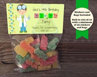Scientist Birthday Treat Bags, Science Experiments, Science Birthday, Science Party, Scientist Birthday Party, Birthday Treat Bags, Science