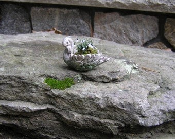 Aged patina faux stone miniature swan planter 1:12 scale