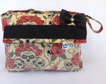 Stroller Bag (style 1)- Tan skull roses
