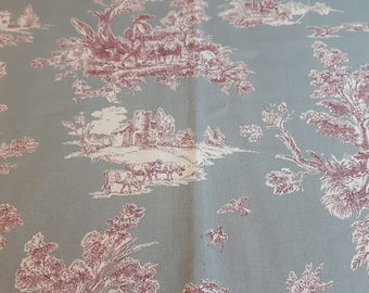 New!! Toile Bourgade; Toile de jouy fabric grey red