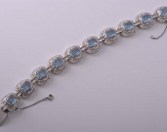 Silver 1950's Bling Bracelet (477dd)