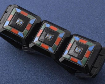 Glass Art Deco Bracelet (747r)
