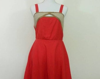 Vintage sun dress red linen cotton summer dress 1970's Size M