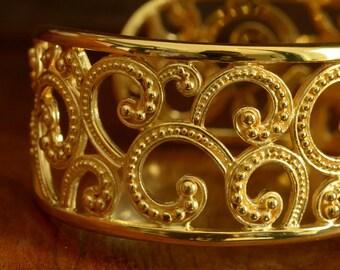 Cuff Bracelet Genuine 24K Gold Vermeil over Sterling SILVER 48.82 g ~ Handmade