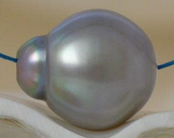 12.05 mm TAHITIAN South Sea PEARL Charcoal Gray Baroque 1.56 g fully drilled