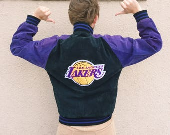 Vintage LA Lakers G-III Quilted Lined Suede Leather Jacket