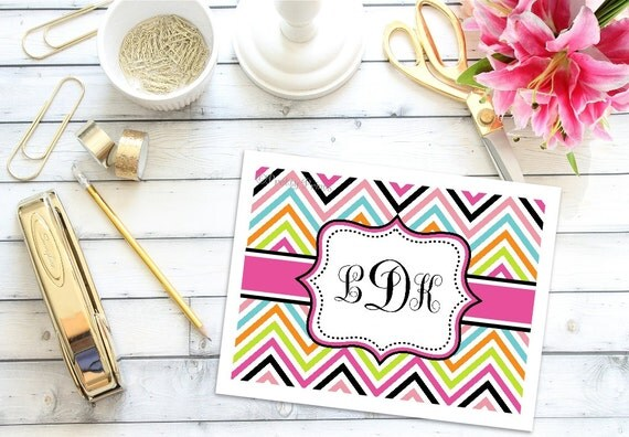 Personalized Note Cards - Chevron Note Cards - Personalized Stationery - Notecards - Chevron Note Cards - Thank you Notes - Monogrammed