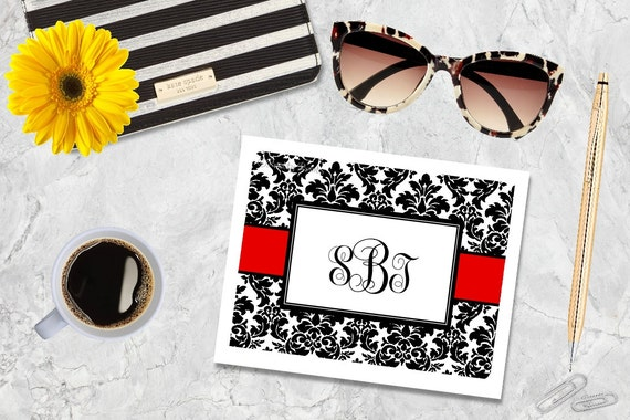 Personalized Note Cards - Black Damask - Red Damask Note Cards - Personalized Stationery - Custom Note Cards - Thank You Notes