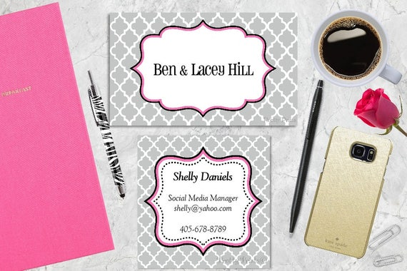Gift Tags, Favor Tags, Gray and Pink, Quatrefoil, Pink, Tags, Business Cards, Calling Cards, Appointment Cards, Personalized Gift Tags