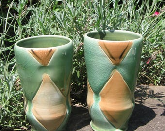 Set of Two Celadon Tumbers