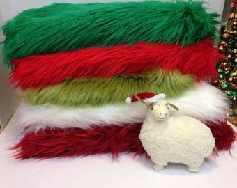 GREEN, RED or WHITE Faux Fur Photo Prop, Christmas Prop, Fur Nest,  Newborn Photography Prop, Basket Stuffer, Filler, Layering Blanket.