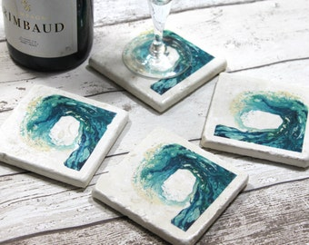 Stone Coasters, Tile Coasters, Coasters for Drinks, Beach Decor, New Home Housewarming Gift, Drinkware Gifts, Ocean Wave, Boyfriend Gift