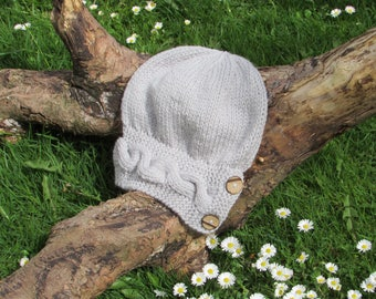 Light Grey Knitted Hat Button Band Hat Cable Band Slouchy Hat Adult Size Hand Knitted Hat Chunky Knit Hat Alpaca Wool Acrylic