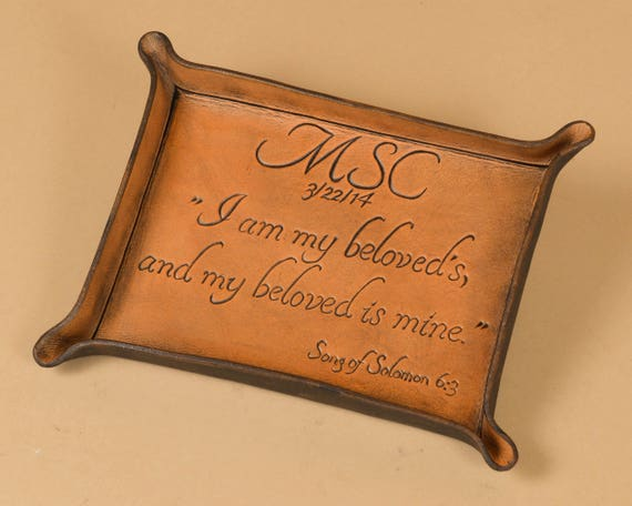 Hand Carved Scripture Verse Tray Song of Solomon Custom Anniversary Gift Example