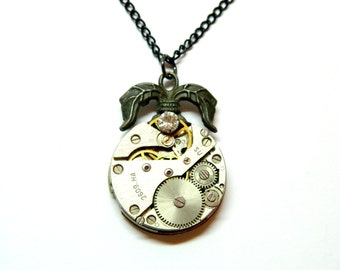 Exotic Steampunk jewelry, unique pendant old clockwork, dark grey ornament palm leaves, black chain, small crystal, gift for girl, boy, man