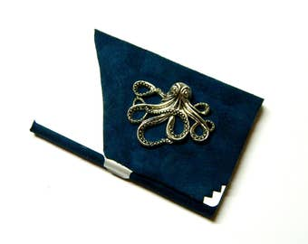 Big octopus Cthulhu, Lord of the oceans, Steampunk business card holder, wallet case, container ink leather, gift for brother, grandfather