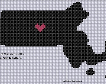 Heart Massachusetts Cross Stitch Pattern