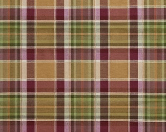 Purple And Green Country Plaid Upholstery Fabric By The Yard | Pattern # B0020E