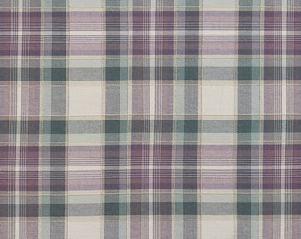 Green Purple And Off White Country Plaid Upholstery Fabric By The Yard | Pattern # B0020C