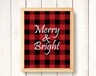 DISCOUNTED!! Plaid Christmas Print - Merry & Bright Wall Art - Christmas Wall Art Decoration - Christmas Room Decor - Rustic Christmas Print