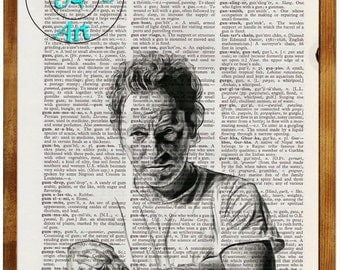 Springsteen The Boss Altered Art Black & White Drawing Beautifully Upcycled Vintage Dictionary Page Book Art Print