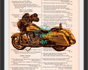 Yellow Bagger Motorcycle Altered Art Furs/Feathers Glow Effect Beautifully Upcycled Vintage Dictionary Page Book Art Print