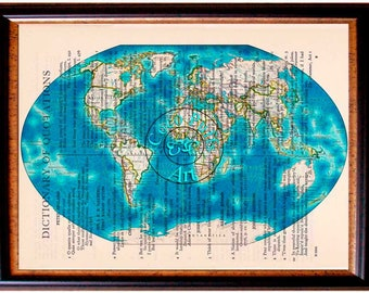 World Map Liquid Bloom Glow Art Beautifully Upcycled Vintage Dictionary Page Book Art Print