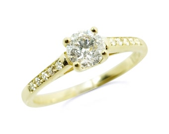 1/2 carat Engagement  Diamond Ring-Solitaire diamond ring-14K Yellow Gold Ring-Women Jewelry-promise ring-Anniversary Gift-for her