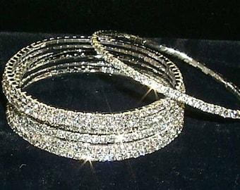Crystal Rhinestone Bangle - Single Row - Silver Plated