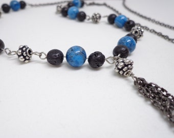Gunmetal finish long drape necklace with Crazy Lace Blue Agate and Lava Stone