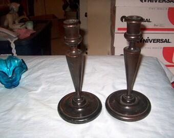 Vintage Wood Primitive Candlesticks