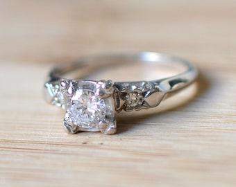 SALE 40% OFF Vintage Engagement Ring - Diamond Engagement Ring - Antique Engagement Ring - Size 5 Diamond Ring - Vintage Wedding Ring