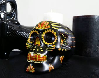 Hand painted ceramic sugar skull candle holder dia de los muertos style in yellow and orange