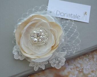 Champagne Bridal headpiece-Bridal hair accessory -Flower hair clip - Bridal Hair Clip- Wedding fascinator  Birdcage veil and Flower -LOUISE