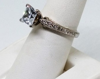 Sterling silver ring Princess shaped Cubic Zirconia engagement ring