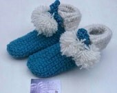 Turquoise chunky slippers crochet shoes womens slippers kids slippers wool blend crochet slipper boots ladies knitted shoes