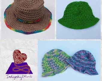 Basic adult sunhat **Made to Order** Crochet or knitted simple ladies sun hat, bucket sunhat, cowboy hat, mens summer hat