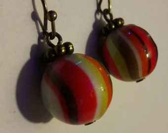 Hand painted round bead and brass hook earrings. Bead earrings. Round bead earrings. Rainbow earrings. Dangly bead earrings. Vintage brass