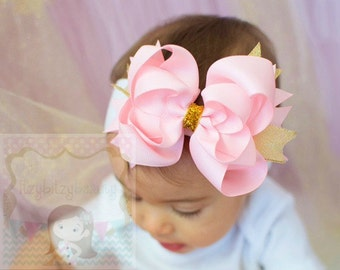 OTT Girls Pink And Gold Hair Bow Headband Layered Grosgrain Shimmer