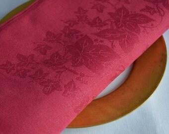 8 Antique Irish Linen Damask napkins, Pomegranate red