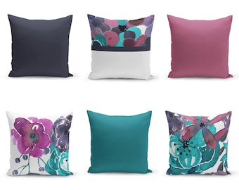 Throw Pillow Covers, Purple Teal , Mix and Match, Decorative Pillow Covers, Floral Pillow Cover, Solid Pillow Cover