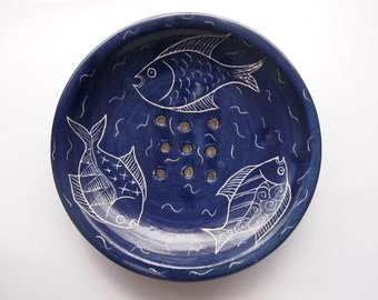 Soap dish, fish soap dish, royal blue soap dish, blue bathroom