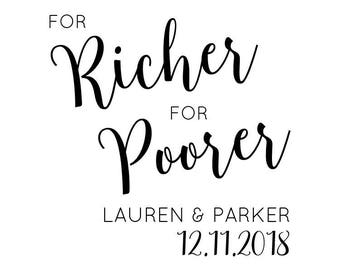 "For Richer For Poorer Stamp, wedding stamp, wedding favours stamp, personalised wedding stamp, For Richer or Poorer, 1.8""x1.8"" (cts178)"
