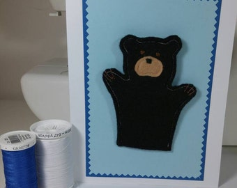 Ready to Ship : Felt Black Bear Finger Puppet Greeting Card