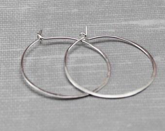 Sterling Silver Casual Hoop Earrings - Silver Earrings - Simple Earrings - Everyday Earrings